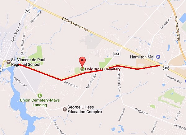 The sections of Route 40 highlighted in red will be closed Monday afternoon. - Photo: Google Maps