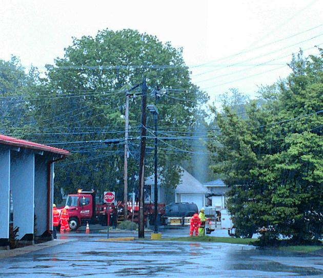 Burnt utility pole on Tilton Road., Northfield - Photo: Tom McNally/Townsquare Media